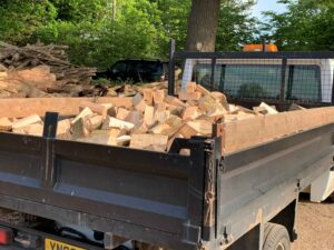 Lorry of firewood 3 cubic metre load